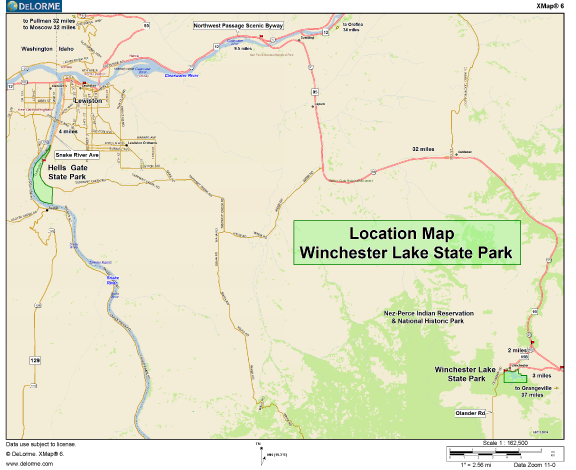 Winchester Idaho Map.Winchester Lake State Park Location Map Lewis County Idaho